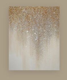Glitter Art Painting Acrylic Abstract Original Art on Canvas by Ora Birenbaum Beach Shabby Chic Titled: Shimmer 4 24x30x1.5""