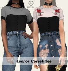 Lennor Corset Tee at Lumy Sims • Sims 4 Updates