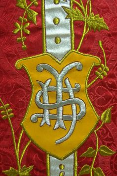 close up embroidery on latin mass chasuble