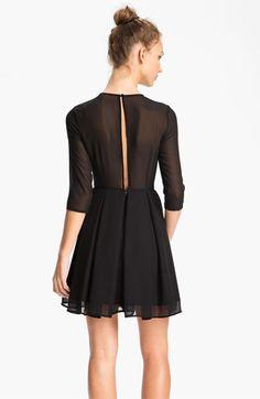 BB Dakota Illusion Yoke Pleated Fit & Flare Dress - Back| Nordstrom