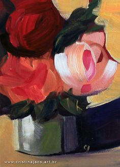 "Floral painting 5x7"" small original acrylic on panel pink red orange impressionist still life fine art by @cristinajaco"