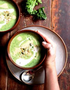 Spinach Soup Little Green Goddess Soup with kale, broccoli, spinach and coconut milk. Gluten… - Little Green Goddess Soup. Insanely delicious and incredibly good for you this soup is full of broccoli, kale and spinach and creamy coconut milk. Whole Food Recipes, Vegetarian Recipes, Cooking Recipes, Healthy Recipes, Cooking Food, Free Recipes, Kale Soup Recipes, Dinner Recipes, Vegetarian Options