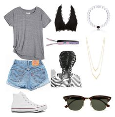 """Untitled #8"" by katelinbullock on Polyvore featuring Levi's, Ray-Ban, Charlotte Russe, Jennifer Zeuner and Converse"