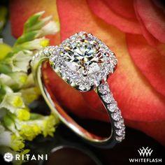 1.226ct I VS1 A CUT ABOVE Round Diamond set in Ritani 1RZ1321 French-Set Cushion Halo Diamond Band Engagement Ring