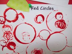 For the month of September the 2 year old class' color is red and the shape is a circle. The 2's had fun making red circles with different items to create a circle.