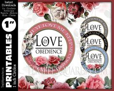 Printable 1 inch Circles If Ye Love Me Keep My Commandments Love and Obedience instant download YW LDS 2019 Mutual Theme Jewelry DIY Craft If Ye Love Me, My Love, My Mirror, Girls Camp, Relief Society, Glass Domes, Beautiful Necklaces, Lds, Young Women