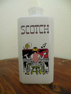 Rare Vintage 50s Hazel Atlas Frosted Glass Piano Player Scotch Bottle Decanter