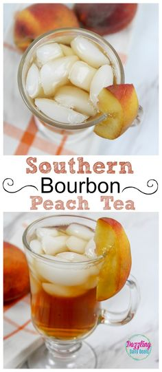 Try this EASY Southern Bourbon Peach tea recipe, perfect for guest and entertaining or an evening drink on the porch after a hot summer day! Peach Drinks, Tea Cocktails, Bourbon Drinks, Cocktail Recipes, Bar Drinks, Beverages, Cocktail Food, Cocktail Night, Refreshing Summer Cocktails