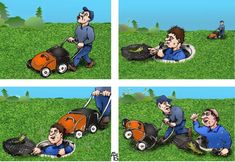 Cartoon: Lawn mower. See also: Luncheon on the Grass. The post Lawn mower first appeared on Toons Mag and is written by Alexander Bogdanov. Safety Cartoon, Cartoon News, Comic Page, Lawn Mower, Caricature, Comics, Grass, Modern Design, Lawn Edger