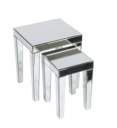 AVE SIX Reflections Nesting Tables, Silver Glass: Amazon.ca: Home & Kitchen