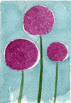 Buy 2 Get 1 FREE -- Watercolor Painting: Watercolor Flowers -- Mini Art Print -- Purple Onion Flowers  -- ACEO Print