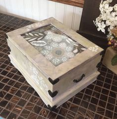 Photo Frame Jewelry Box // Painted Stenciled Jewelry Chest // Shabby Chic Jewelry Box by ByeByBirdieDesigns on Etsy https://www.etsy.com/listing/236875612/photo-frame-jewelry-box-painted