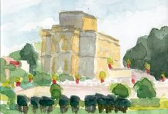 Anthony Lombardi  Villa Pamphili Roma  watercolour on paper 2014 18 x 12,5 cm