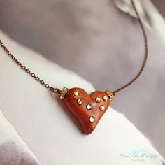 Joie Heart Pendant Necklace with Swarovski Crystals - Copper Brown Heart, Copper Necklace, Simple, Polymer Clay Heart Pendant