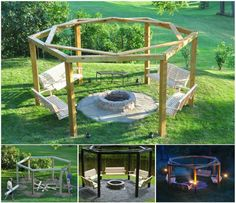 Porch-Swing Fire Pit - Oh to dream....warm nights, campfire, smores, sing songs,   love this!