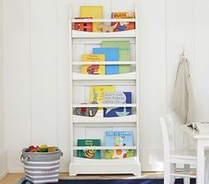 "Madison 4-shelf book rack | 23.5"" W x 5.5"" D x 57.5"" H $169 