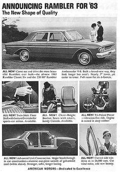 1962 ad: Announcing Rambler for American Auto, American Motors, Vintage Advertisements, Vintage Ads, Hudson Car, Car Brochure, Jeep Models, Best Ads, Car Advertising