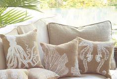 3 Mud Pie Sealife Burlap Throw Pillows Octopus Seahorse Coral Reef Decorative #MudPie