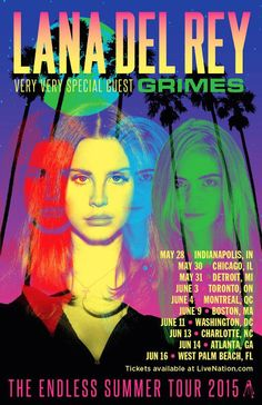 Lana Del Rey with Grimes on the Endless Summer Tour. (I would much rather see Grimes than Courtney Love) Lana Del Rey Tour, Lana Del Rey Lyrics, Lana Del Ray, Dream Pop, Trip Hop, Bedroom Wall Collage, Photo Wall Collage, Endless Summer Tour, Poster Wall