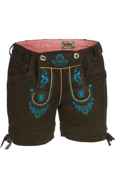 German LEDERHOSENN Elfi Leather Shorts turquoise