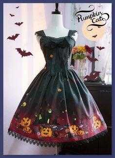 For Halloween: Pumpkin Cat ✦✙Halloween Carnival✦✙ Low Waist JSK: http://www.my-lolita-dress.com/pumpkin-cat-halloween-carnival-high-waist-lolita-jumper-dress-pc-42 [Very Limited Quantity]