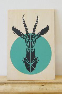 Aqua Gazelle on Plywood, Stencil Art. Original Art, Stencil Animal, Geometric Origami Gazelle
