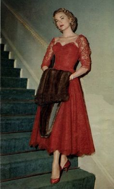 """Grace Kelly, """"Classy"""" movie star model glam red lace party dress full skirt photo print ad snapshot cocktail wear"""
