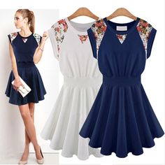 b31fb26ce0ca 2017 Summer Dress Women Solid Pleated Short Sleeve Patchwork Robe Femme Ropa  Mujer Above Knee Minin Vetement Casual Dresses