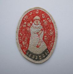 scarlet dreaming - oval dreamer portrait - original miniature embroidery artwork