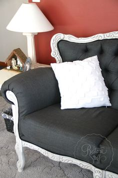 """French Provincial sofa couch and armchair makeover. Miss Mustard Seed's Milk Paint - Grainsack. Click thru to see """"Before"""" pics and more..."""