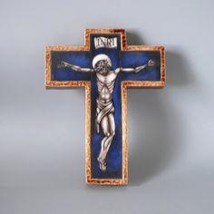 Glass Artwork, Catholic Art, Spiritual Gifts, Opaline, Art Deco Design, Glazed Ceramic, Crucifix, Jesus Christ, Stained Glass