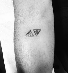 """Water and fire in triangles on @hautypants thanks for coming #tattoobynoma"""
