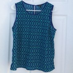 Forever 21 Tank Forever 21 dark blue and dark mint green patterned tank. Forever 21 Tops