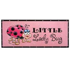 Pink Lady Bug Art Sign 5x12