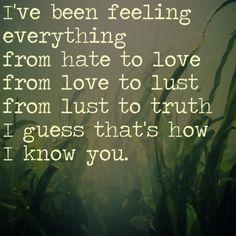 He sentido todo: de odio a amor, de amor a deseo, de deseo a verdad... supongo que así es como te conozco. #EdSheeran #frases #quotes #citas ❤