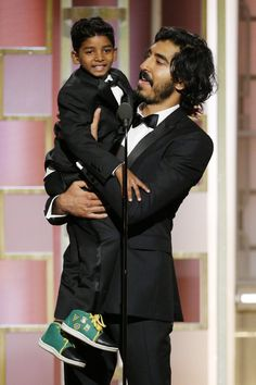 Dev Patel and Sunny Pawar at an event for Golden Globe Awards Sunny Pawar, 74th Golden Globe Awards, Kimberly White, Lion Movie, Dev Patel, Hot Dads, Man Crush Everyday, The Beverly, Beverly Hilton