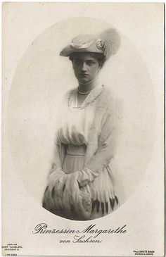 1919 portrait of Princess Margarete of Saxony wearing an elegant dress and muff. She was one of the daughters of King Friedrich August of Saxony and Luise of Saxony born Archduchess of Austria - Tuscany.