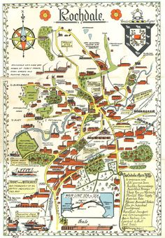A pictorial map of Rochdale, Lancashire, Scottish English, Mental Map, Local Map, Disused Stations, Map Maker, Pictorial Maps, Rochdale, Historical Images, Old Maps