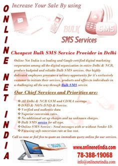 Cheapest Bulk SMS Service Provider in Delhi Online Net India is a leading and… E Online, Digital Marketing, Budgeting, India, Goa India, Budget Organization, Indie, Indian