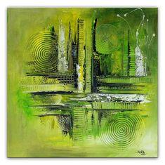 BURGSTALLER Original Gemälde Verirrt Grün Gelb Abstrakte Kunst Bild Malerei  | Antiquitäten U0026 Kunst, Kunst