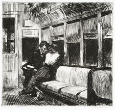Edward Hopper, 'Night on the El Train' (1918). (R Hensleigh)