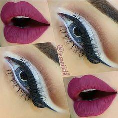Instagram photo by @jeamileth via ink361.com Crazy Makeup, Makeup Designs, Eye Make Up, Beauty Makeup, Halloween Face Makeup, Lipstick, Eyes, Instagram, Bordeaux