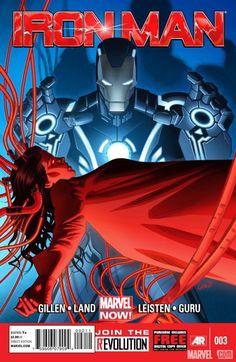 The cover to Iron Man #3, art by Greg Land, Jay Leisten, & Guru eFX