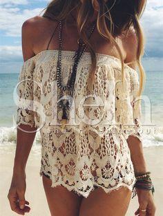 LASPERAL Boho D'é Femmes Dentelle Crochet Blouse Sexy Off Épaule Plage Blanc Blouses Tops Shirt Blusas Feminina Plus Taille White Off Shoulder, Off Shoulder Tops, Shoulder Cut, Shoulder Shirts, Hippie Style, Bohemian Style, Ibiza Style, Hippie Bohemian, Bohemian Beach
