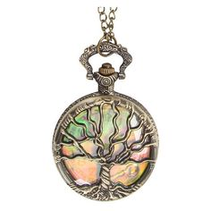 Tree Of Life Pocket Watch Necklace Hot Topic ($12) ❤ liked on Polyvore featuring jewelry, necklaces, chain pendants, pendant jewelry, pocket watch, pocket watches and gold tone jewelry