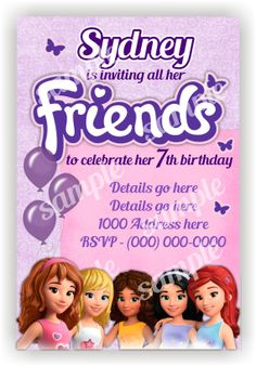 Lego Friends Birthday Invitation Polka Dots by BenAnnaInvites Lego Friends Birthday, Lego Friends Party, Lego Birthday Party, Barbie Birthday, 7th Birthday, Birthday Ideas, Birthday Parties, Lego Party Decorations, Party Activities