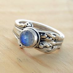 Spoon Ring with Rainbow Moonstone Upcycled by metalsmitten on Etsy