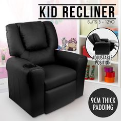 Luxury Kids Recliner Sofa Children Lounge Chair Padded PU Leather Arm Black