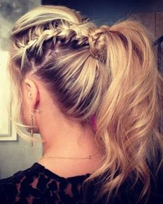 poof braid knot pony tail.. lots going on but cute
