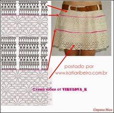 Katia Ribeiro Moda & Decoração Handmade: Saia em crochê com gráfico e passo a passo